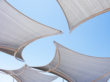 Awnings against the blue sky background