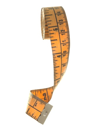 Measuring tape macro view; isolated on white background Stock Photo - 14412870