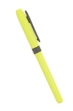 Yellow marker close up; isolated on white background Stock Photo - 14506199