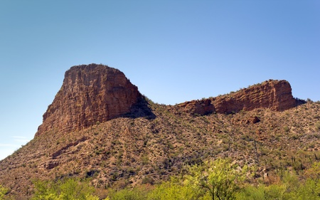 Rugged terrain with Saguaro catci of Tortilla Flats on Apache Trail, Arizona Stock Photo - 15081363