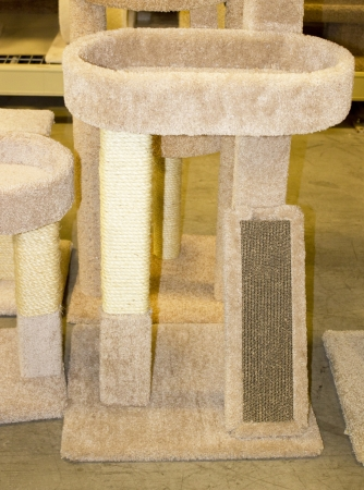 Corrugated scratcher and sisal rope scratching post as a part of cat tree; pet store, AZ photo