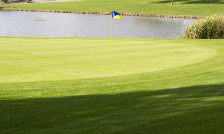 Continental Golf Club gebied met vijver, Scottsdale, AZ Stockfoto