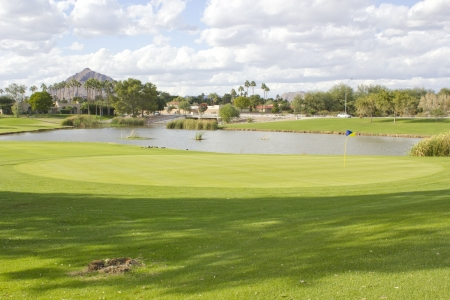 Continental Golf Club field with pond, open to public; Scottsdale, AZ Stock Photo