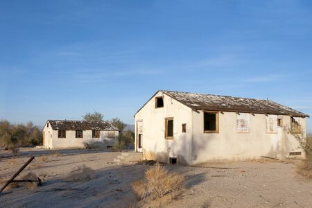 frontyard: Abandoned Homes in gold mining town, Desert Center, CA Editorial