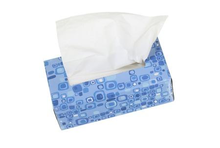 ブルー ボックス ティッシュ;白い背景に分離