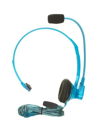 telephone headset: Telephone headset with cord; isolated on white background Stock Photo