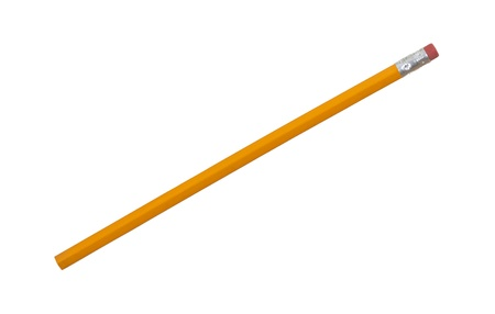 Unsharpened pencil close up; isolated on white background photo