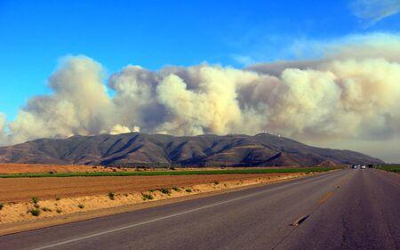 state park: Wild brush fire in Point Mugu State park mountains near Camarillo, CA Stock Photo