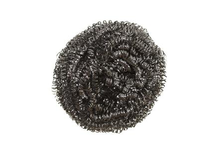 lavar platos: Acero inoxidable estropajo, aislado en blanco
