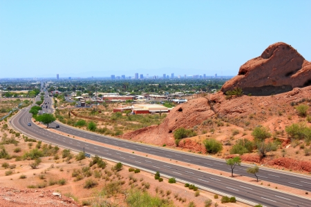 Road to Phoenix from Papago park mountains, AZ