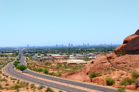 McDowell Road to downtown of Phoenix as seen from Papago park mountains, Arizona photo