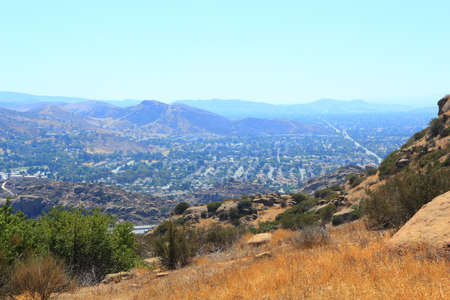 rocky peak: West overlook of Simi Valley from Rocky Peak Trail, Santa Susana Mountains, CA  backlit