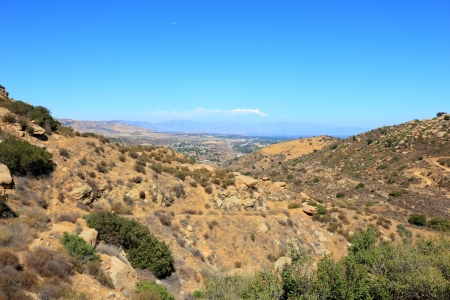 Rocky Peak Trails running eastward to San Fernando Valley, Santa Susana Mountains, CA photo