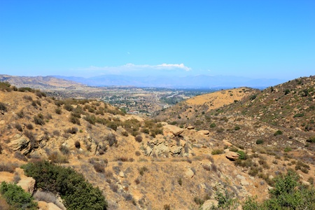 san fernando valley: East overlook of San Fernando Valley from Rocky Peak Trails, Santa Susana Mountains, CA