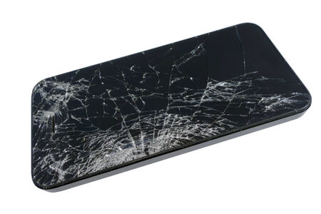 Broken Touch Screen Glass of Tablet Computer or Smartphone, isolated on white Imagens
