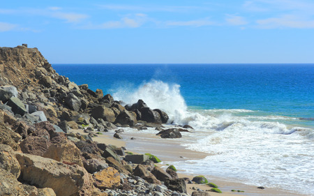 california coast: Powerful breeze waves smash against rocky pacific coast, Ventura county, California Stock Photo