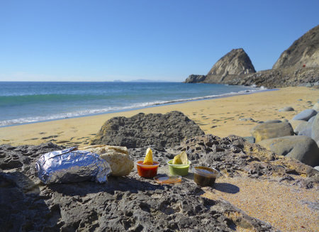 thornhill: Burito, Chips and Salsa Lunch at Thornhill Beach near Point Mugu, Ventura, CA