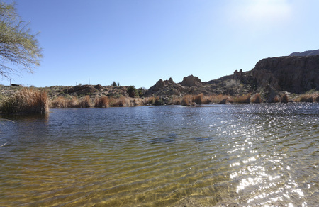 Ayer lake and Magma ridge in Boyce Thompson Arboretum State Park near city of Superior; AZ; Back Lit Stock Photo