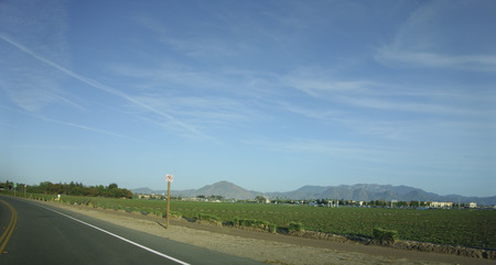 Fields and mountains surrounding city of Camarillo, Ventura county, California
