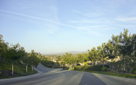 a rural community: Steep and winding streets  in city of Camarillo, Ventura county, California