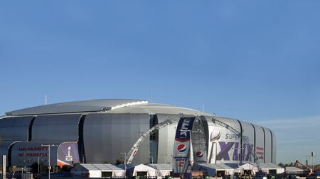 sponsors: GLENDALE, AZ -  JANUARY 24, 2015: Arizona Cardinals University of Phoenix Stadium that hosts Super Bowl XLIX in Glendale, Phoenix metro, is getting ready for a Big Game between New England Patriots and Seattle Seahawks on February 1, 2015