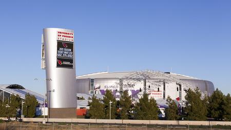 seahawks: GLENDALE, AZ - 24 de enero de 2015: University of Phoenix Stadium, sede de los Cardenales de Arizona; Super Bowl XLIX lleva a cabo en Phoenix Metro con un partido entre los New England Patriots y los Halcones Marinos de Seattle en 01 de febrero 2015