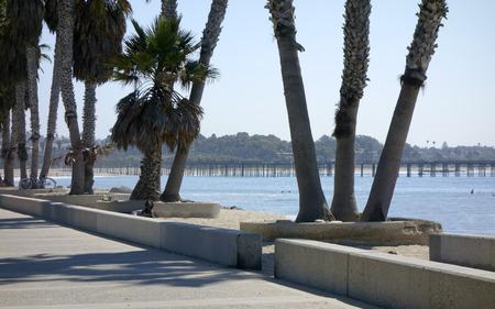 backlit: Promenade at Public city Beach in San Buena Ventura and wooden pier, Ventura, CA; Backlit, Back Lit