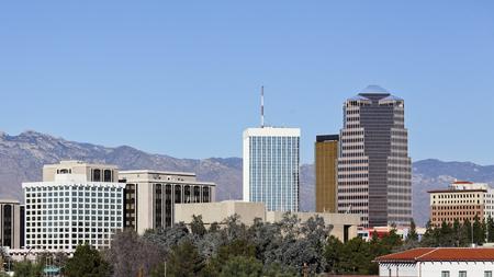 Cityscape of Tucson downtown and Santa Catalina mountain range, Arizona