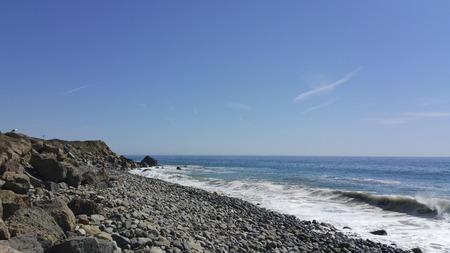breezy: Breezy weather at rocky Thornhill Broom beach in La Jolla canyon, Ventura county, California