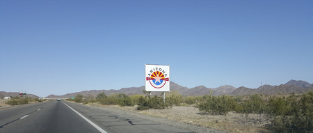 admitted: Commemorative road sign at Interstate-10 reminding that Arizona was admitted to the US over 100 years ago (February 14, 1912)