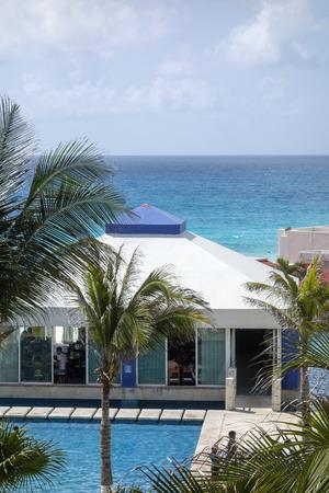 roo: Cancun Quintana Roo Mexico  May 17 2015: Ocean side restaurant for food and scenery enjoyment at a beautiful Caribbean coast Solymar Beach and Resort hotel La Isla Dorado Editorial