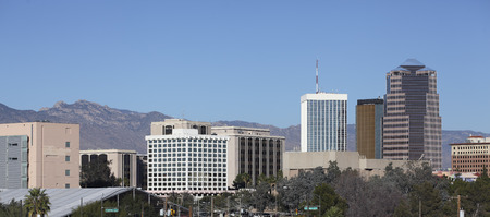 tucson: Cityscape of Tucson downtown and Santa Catalina mountain range Arizona
