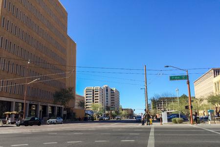 sidewalks: PHOENIX, AZ - FEBRUARY 8, 2016: Historic downtown buildings at crossing of 1st Avenue and Jefferson Street in Phoenix downtown, Arizona