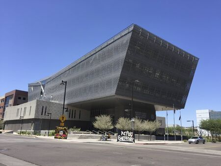 sheriffs: PHOENIX, AZ - MAY 19, 2016: Futuristic but practical sun shading architecture of Maricopa County Sheriffs Office Headquarters in downtown of city of Phoenix, Arizona