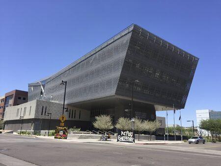 PHOENIX, AZ - MAY 19, 2016: Futuristic but practical sun shading architecture of Maricopa County Sheriffs Office Headquarters in downtown of city of Phoenix, Arizona