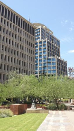 shady: PHOENIX, AZ - JULY 29, 2016: Small green and shady recreational park area across Phoenix Convention Center Phoenix, Arizona Editorial