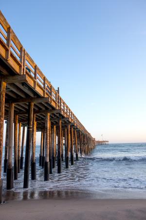 beachfront: Old historic wooden pier in city of San Buena Ventura, Southern California Stock Photo