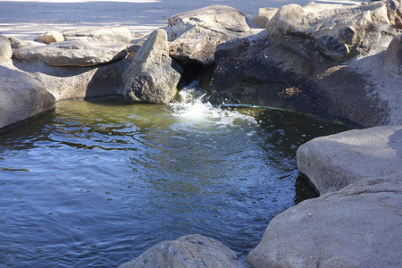 az: Green waterflowing from decorative boulders and rocks, Cortez lake, small recreational park in North West Phoenix, AZ