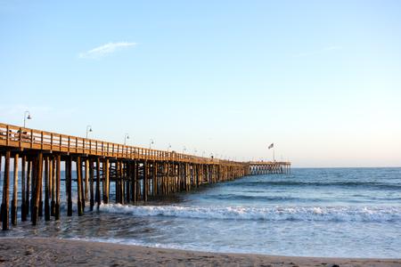 Historic wooden pier in city of San Buena Ventura, Southern California Stock Photo