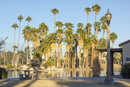 lampost: Encanto park dining area with table and benches near the lake, Phoenix downtown, Arizona in Winter. Stock Photo