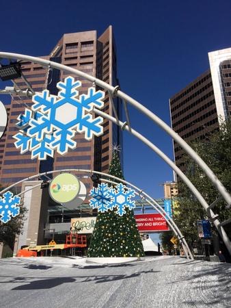 az: PHOENIX, AZ - NOVEMBER 17, 2016:  Arizona Public Service sponsored City Skate with decorated Christmas tree in the center of skate ring in always sunny Phoenix, AZ
