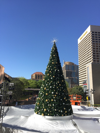 goldish: PHOENIX, AZ - NOVEMBER 17, 2016: Silver-White reflective tarp covering downtown city skating ring with decorated Christmas tree in warm and sunny Phoenix, Arizona