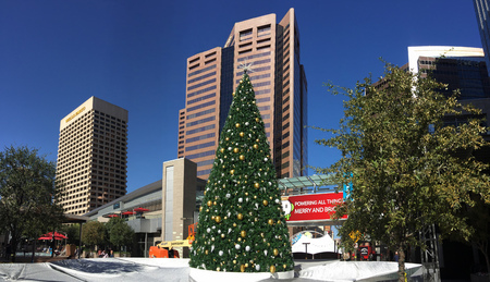 goldish: PHOENIX, AZ - NOVEMBER 17, 2016: White reflective tarp covering downtown city skating ring with decorated Christmas tree in sunny Phoenix, Arizona Editorial