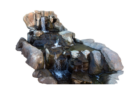 downstream: Copy-n-Paste Waterfall for your background  -  Free flowing water over rock and boulders with splashing streams; Isolated Stock Photo