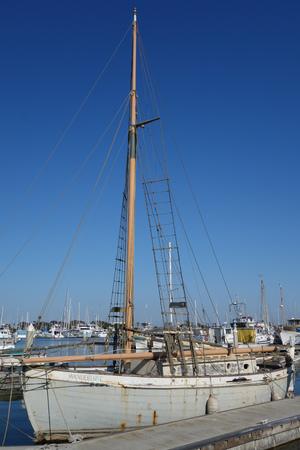 OXNARD, CA, USA - JULY 4, 2013: Classic wooden ocean schooner in Oxnard marina, Ventura county,  California