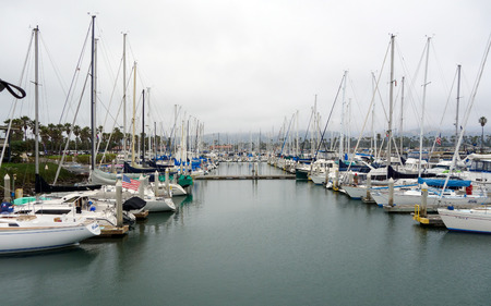 Recreational and fishing boats at the dock in Oxnard marina, Ventura county, Southern California Pacific coast; copy space Editorial
