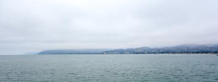 Panorama of city and Ventura harbor as seen from ocean side, San Buenaventura, Southern California Stock Photo