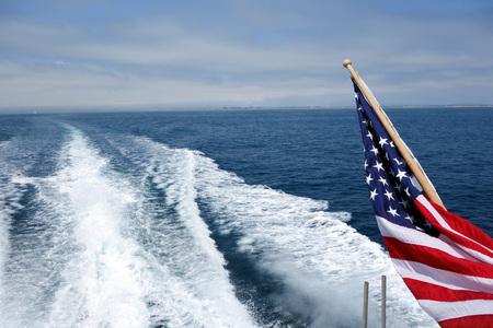 City and Ventura coats line s seen from a speeding toward ocean cruise ship, Southern California Stock Photo