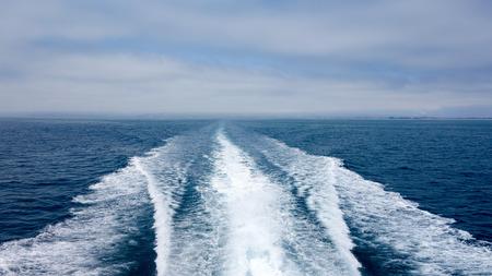 City and Ventura coats line as seen from a speeding toward ocean cruise ship, Southern California