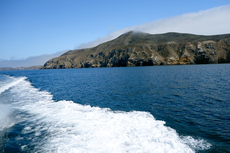 Dark blue waters and steep coast line of Channel Islands in Southern California Stock Photo